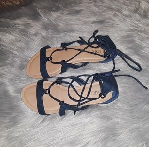 Navy Lace Up Sandals